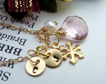 Custom Initial and Stone - Mystic Pink Quartz Custom Initial Disc Snow Flake Pearl Necklace in 14k gold filled chain