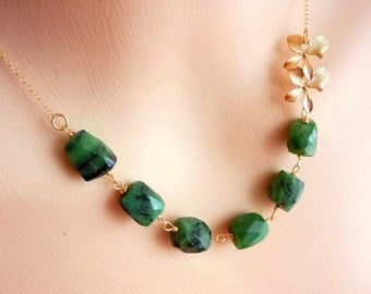 Emerald Green Zoisite Double Orchid Necklace in 14k Gold Filled Chain