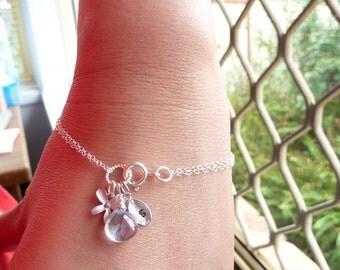 Custom Stone and Initial Bracelet - Mystic Blue Quartz, Custom Initial Leaf, Orchid Bracelet in Sterling Silver Chain