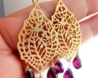 Garnet Peridot Golden Chandelier Earrings