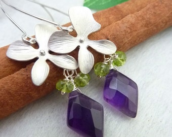 Purple Amethyst, Peridot, Orchid Silver Lotus Petal Earrings