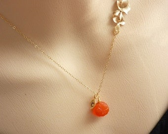Custom Stone and Initial Necklace - Carved Orange Carnelian, Custom Initial Leaf, Triple Orchids Necklace in 14k Gold Filled chain