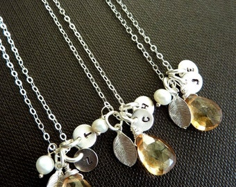 Custom Stone and 2 Initials - Champagne Quartz, Pearl, 2 Custom Initial Discs, Leaf Necklace in Sterling Silver Chain