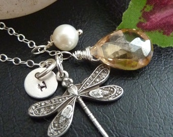 Champagne Quartz, Dragonfly, Custom Intiail Disc, Pearl Necklace in Sterling Silver Chain