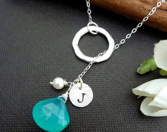 Custom Iniitl and Stone - Apatite Blue Chalcedony, Sterling Silver Initial Disc, Pearl, Silver Ring Lariat Necklace in Sterling Silver Chain