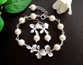 Bracelet and Earring SET - Swarovski Ivory Cream Pearl Silver Trio Orchid Flowers Sterling Silver Bracelet and Earring SET
