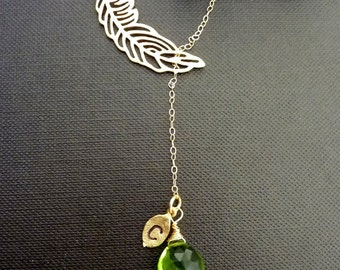 Custom Stone and Initial - Forest Green Vessonite, Custom Initial Leaf, Feather Lariat Necklace in 14K Gold Filled Chain