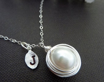One Large AAA  Pearl Egg Nest, Custom Initial Leaf Necklace in Sterling Silver Chain