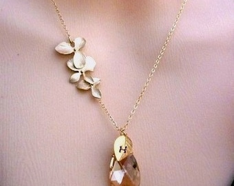 CUSTOM INITIAL NEKLACE - Champagne Swarovski Crystal Tripple Golden Orchid CustomLeaf Initial Gold Filled Chain Necklace
