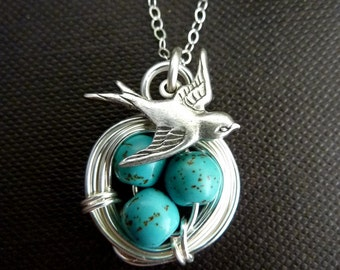 Original Version- Silver Bird Nest Turquoise, 3 Eggs, Sparrow Necklace in Sterling Silver Chain