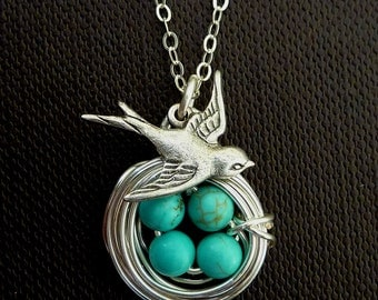 Original Version - 4 Eggs Turquoise Bird Nest, Sparrow Bird Necklace in Sterling Silver Chain