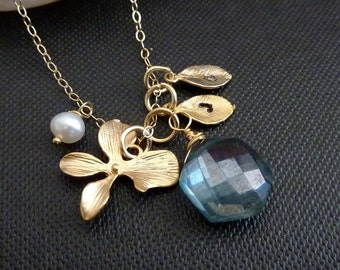 Custom Stone and Initial - Mystic Teal Green Quartz, 2 Custom Initial Leaf, Orchid, Pearl Necklace in 14k Gold Filled Chain