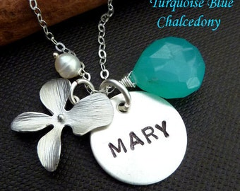 PERSONALIZED  Sterling Silver Charm, Custom Stone, Orchid Flower, Pearl Necklace in Sterling Silver Chain