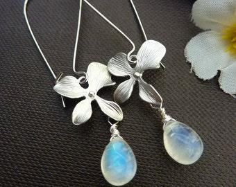 Custom Stone Earring - Blue Flash Moonstone, Orchid Silver Earrings