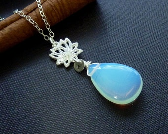Custom Initial, OPALITE MOONSTONE, Lotus Flower Necklace in Sterling Silver Chain