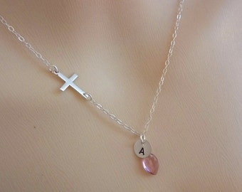 Custom Stone and Initial - Mystic Pink Quartz, Custom Sterling Silver Cross and Initial SS Disc Necklace in Sterling Silver Chain