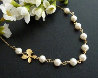 Bridal Jewelry Bridal Necklace  Fresh Water Pearl, Orchid Flower Necklace in 14k Gold Filled Chain