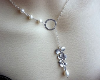 Silver Triple Orchid Flowers, Sterling Silver Hammered Ring, Pearl Lariat Necklace in Sterling Silver Chain