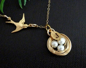 Custom Initial - Golden Bird Nest with Pearl Eggs and Swallow Bird Necklace in 14k Gold Filled Chain