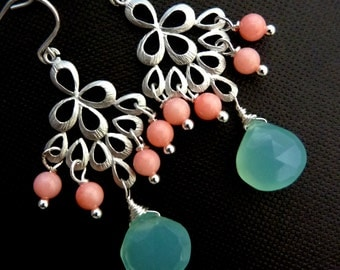 Sea Coral Earrings - Aqua Chalcedony, Pink Coral Peacock Chandelier Sterling Silver Earrings
