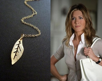 Jennifer Aniston Inspired Golden Leaf Charm Necklace in 14k Gold Filled Chain