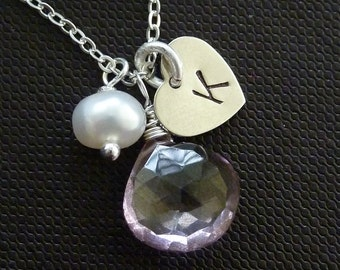 Sweet Valentine - Custom Initial and Stone - Pink Quartz, Custom Heart Initial, Pearl Necklace in Sterling Silver Chain