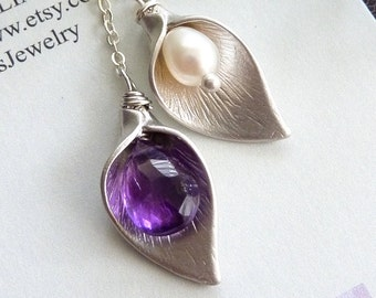 Purple Amethyst and Fresh Water Pearl Calla Lily Flower Lariat Necklace in Sterling Silver Chain