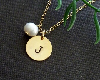 Custom Initial Round Disc, White Pearl Necklace in 14k Gold Filled Chain