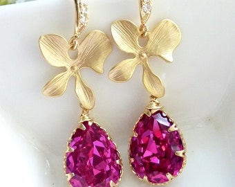 Fuchsia Hot Pink Swarovski Peardrop Crystal, Gold Plated Orchid Flower with CZ Earrings