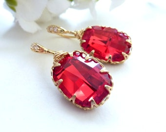 Swarovski Light Siam Foiled Faceted Graphic Drop with Gold Plated Sterling Silver CZ Earrings