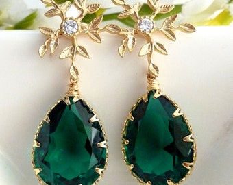 Emerald Green Swarovski Crystal (Clear Back) with Gold Plated Leaf Flower CZ Post Earrings