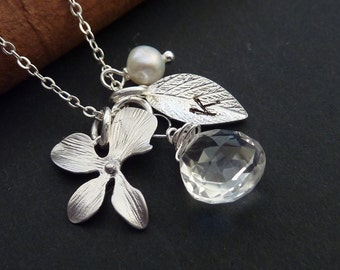 Custom Initial and Stone - Rock Crystal, Custom Initial Leaf, Orchid, Pearl Necklace in Sterling Silver Chain