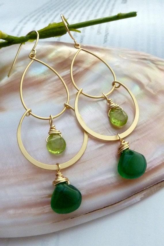 Green Onyx Peridot Golden 2 Hoops Chandelier Earrings