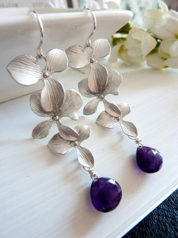 Custom Stone Earrings - Dark Purple Amethyst Silver Triple Orchid Sterling Silver Earings (Gold version is also available)