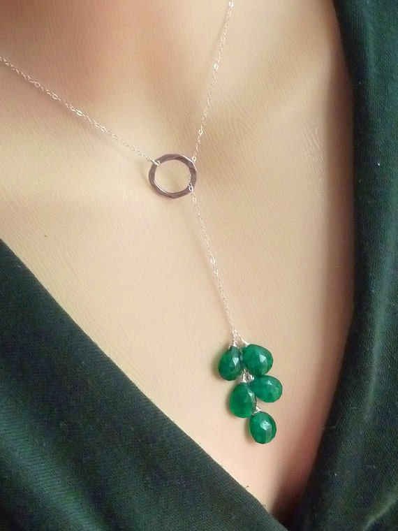 Multi Emerald Green Quartz Gems Lariat Necklace in Sterling Silver Chain