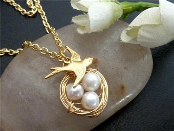 Bird Nest Necklace - Sparrow Bird, Pearl Eggs Necklace in 14k Gold Filled Chain