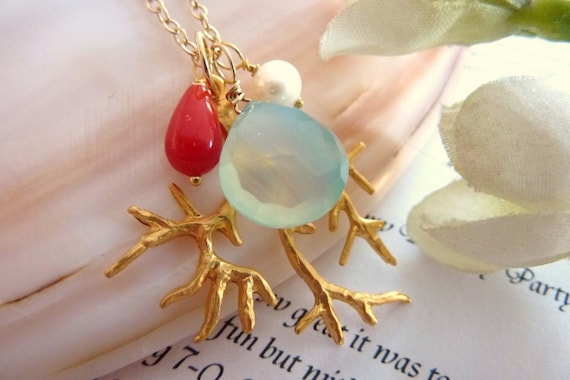 Custom Stone Coral Reef - Aqua Chalcedony Red Coral  Pearl Coral Branch Necklace in 14k Gold Filled Chain