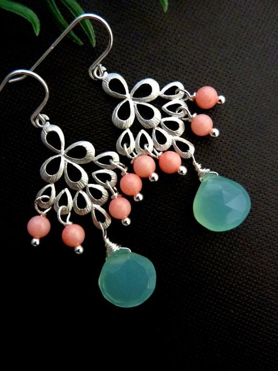 Sea Coral Earrings - Aqua Chalcedony, Pink Coral Peacock Chandelier Sterling Silver Earrings