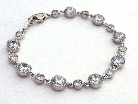 Bridal Bracelet - Clear White Multi Round Drops Cubic Zirconia Bracelet
