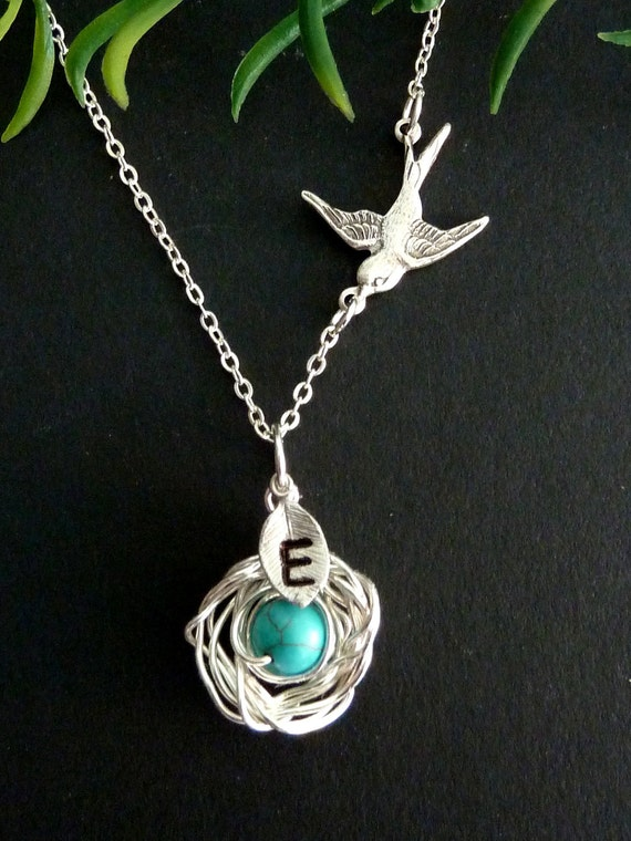 Custom 1 Initial - Bird Nest with 1 Turquoise Egg, Sparrow Bird Necklace in Sterling Silver Chain