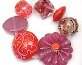 Handmade lampwork bead set  -   Wispy Pink and Tangerine