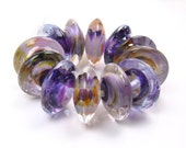 Handmade lampwork beads  -  Violet Vortex  -  Disc glass beads, purple, lilac, lavender, loose lampwork beads
