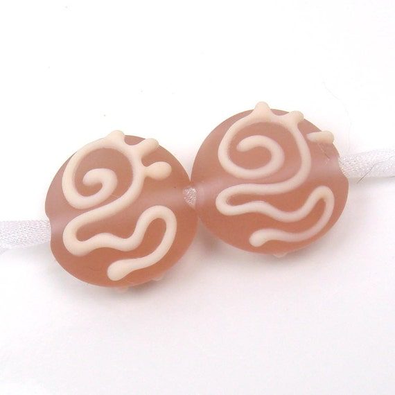 Handmade lampwork bead pair  -  Amber Rose Scrolls  -  rosy pink, glass beads, loose glass beads