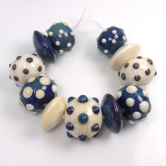 Lampwork beads  -  Dreamy Dots  -  set of 11