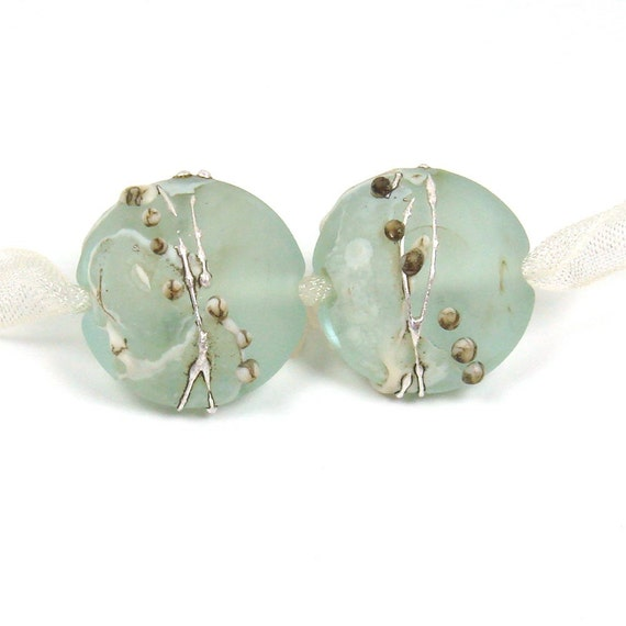 Handmade Lampwork bead pair  -  Silvered Shards on Pale Teal  - Etched Lentils