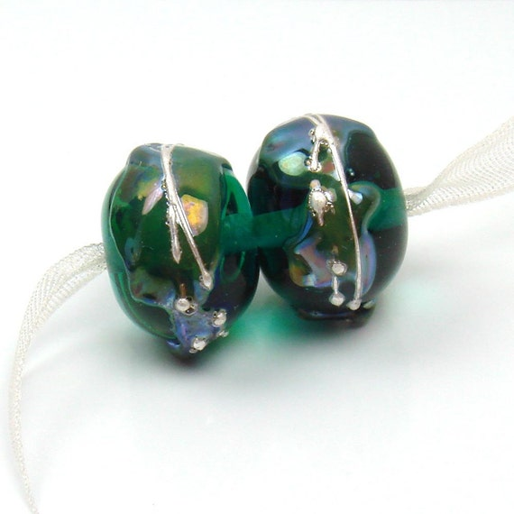Lampwork beads   -  Psychedelic on Teal  -   silver shards, earring pair