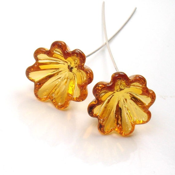 Handmade lampwork  glass Bell Flowers  -  Amber Blooms  -  topaz flowers, sterling silver headpins