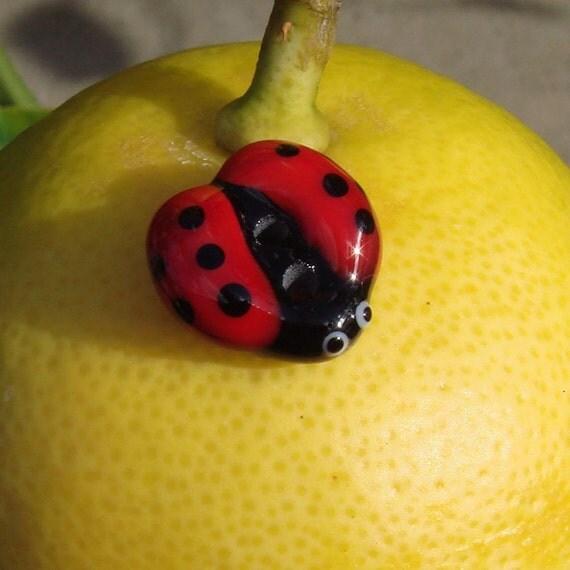 Handmade lampwork glass button  -  Ladybug -  red, black