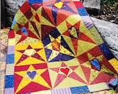 PATTERN - Starry Night -  Fun pieced and applique  quilt PATTERN - Kookaburra Cottage