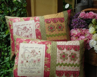 PATTERN - Angels - pretty stitchery and pieced pillow PATTERN - The Rivendale Collection